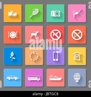 Set of flat icons for travelling, transportation and leisure - Stock Photo