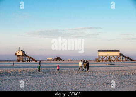 Building on stilts in Saint Peter Ording, Schleswig - Holstein, Pfahlbauten in St. Peter Ording, Schleswig-Holstein - Stock Photo