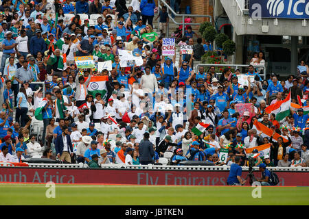 Indian supporters and fans seen during the ICC Champions Trophy 2017 match between India and South Africa at The - Stock Photo