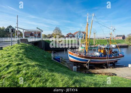 Carolinensiel-marina and bridge, Carolinensiel- Bootshafen und Bruecke - Stock Photo