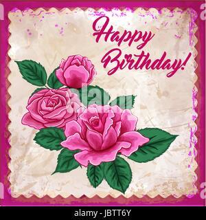 Happy Birthday greeeting card roses  - Stock Photo