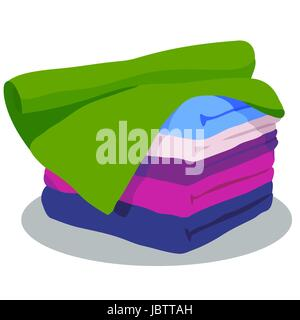 Towels - 5 items of different colors - Stock Photo