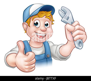 A mechanic or plumber handyman cartoon character holding a spanner and giving a thumbs up - Stock Photo