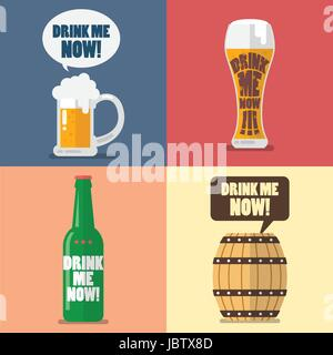 Set of beer icon with word drink me now. Flat style design - Stock Photo