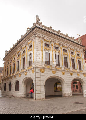 LEIPZIG, GERMANY - JUNE 14, 2014: The Alte Handelsboerse meaning Old Stock Exchange is one of the oldest baroque - Stock Photo