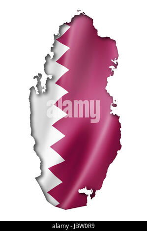 Qatar flag map, three dimensional render, isolated on white - Stock Photo