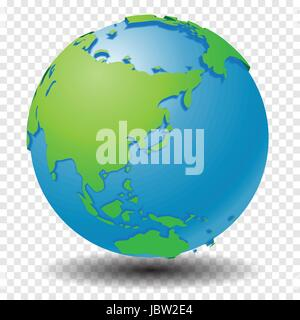 Globe with world map, show Asia region with smooth vector shadows on transparency grid - vector illustration - Stock Photo