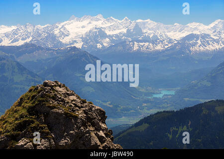 view from pilatus to the bernese alps - Stock Photo