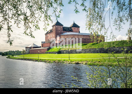 Medieval castle in the city of Hameenlinna, Finland at spring - Stock Photo