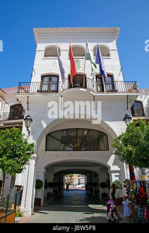 A street scene in Nerja, Andalusia, Spain, Costa del Sol. - Stock Photo