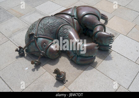 THE HAGUE - NETHERLANDS - CIRCA JUNE 2014: Sculpture garden, with sculptures from the American Tom Otterness on - Stock Photo