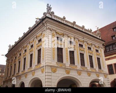 The Alte Handelsboerse meaning Old Stock Exchange is one of the oldest baroque buildings in Leipzig Germany - Stock Photo