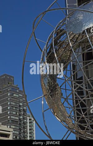 NEW YORK CITY - SEPT 21:  Trump International - a huge stainless steel, skeletal globe of the world was placed at - Stock Photo