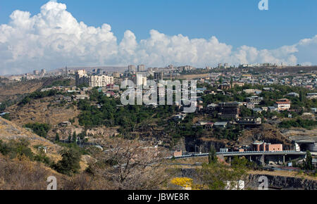 View over the city of Yerevan,Transcaucasia, Armenia - Stock Photo