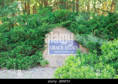 The Grace Estate, a private community, plaque on a stone in East Hampton, NY - Stock Photo
