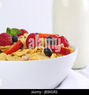 Frische Früchte wie Erdbeeren und Himbeeren mit Milch und Cornflakes zum Frühstück - Stock Photo