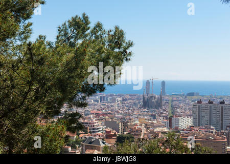 Barcelona City Panoramic view from hills under sky. Catalonia, Spain - Stock Photo