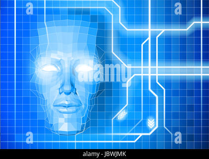 A face technology background abstract concept of a blue face emerging from an electronic grid - Stock Photo
