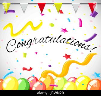 Congratulation card template with colorful balloons illustration - Stock Photo