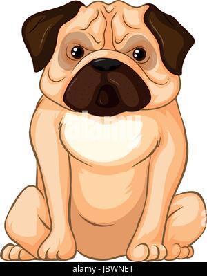 Little pug dog sitting on white background illustration - Stock Photo