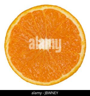 Durchgeschnittene Orange, isoliert vor einem weissen Hintergrund - Stock Photo
