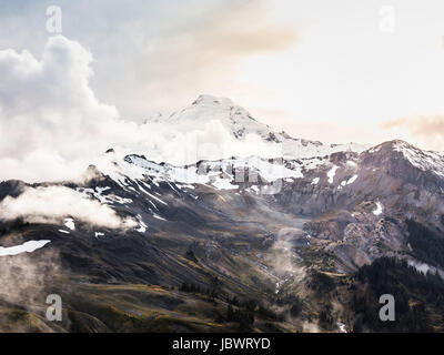 Snow covered mountain peaks, Mount Baker, Washington, USA - Stock Photo