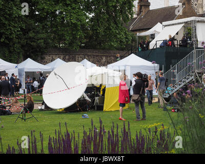 LONDON, UK - JUNE 09, 2017: Press and TV crews in College Green Westminster just opposite the Houses of Parliament, - Stock Photo