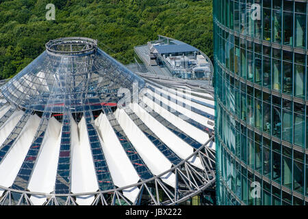 Berlin, Germany - june 9, 2017: Modern Architecture at Potsdamer Platz - roof of the Sony Center and office headquarter - Stock Photo