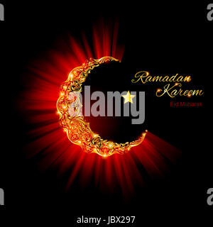 Glowing ornate Moon Crescent and a star in dark red and glowing gold shades. Greeting card of holy Muslim month - Stock Photo