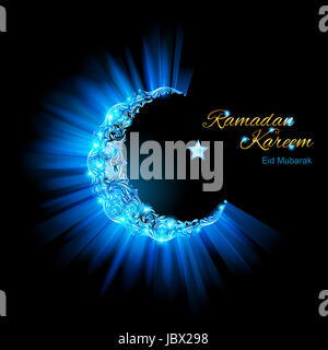 Glowing ornate Moon Crescent and a star in brilliant light blue shades. Greeting card of holy Muslim month Ramadan - Stock Photo