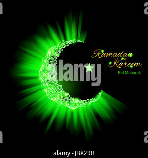 Glowing ornate Crescent Moon and a star in bright green. Greeting card of holy Muslim month Ramadan - Stock Photo