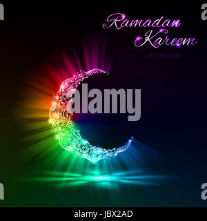 Glowing Moon Crescent with bright flare and radiance in spectral colors . Greeting card of holy Muslim month Ramadan - Stock Photo