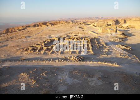 The Western Palace ruins at the Masada fortress on the Masada plateau at dawn, Israel, - Stock Photo