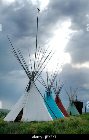 Native American Teepee at the Little Bighorn Battlefield Trading Post, Crow Agency, Montana, USA. - Stock Photo