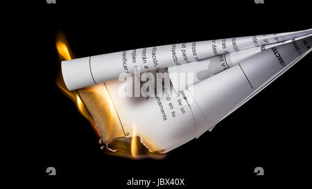 Burning documents. Removing incriminating evidences - Stock Photo