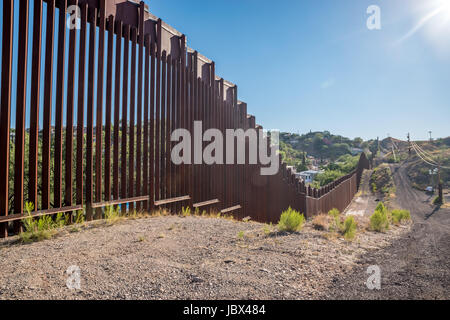 International border between United States and Mexico in Nogales, Arizona - Stock Photo