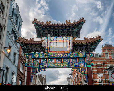 China Town entrance portal in London, UK - Stock Photo