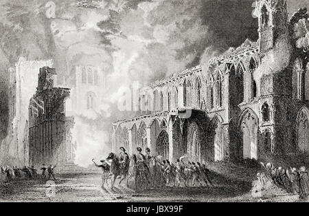 The destruction of Elgin Cathedral, Moray, Scotland in 1390 by Robert III's brother Alexander Stewart, Earl of Buchan, - Stock Photo