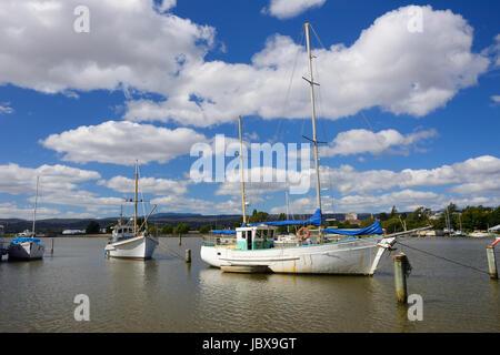 Fishing boats on River Tamar at Launceston in Tasmania, Australia - Stock Photo