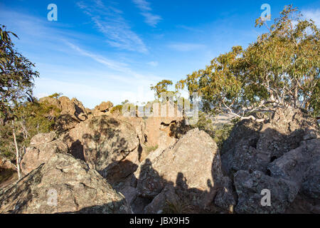 The popular tourist attraction of Hanging Rock. A volcanic group of rocks atop a hill in the Macedon ranges, Victoria, - Stock Photo