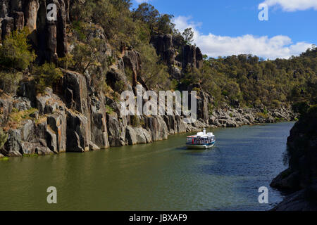 Cruise boat in Cataract Gorge on the South Esk River in Launceston, Tasmania, Australia - Stock Photo