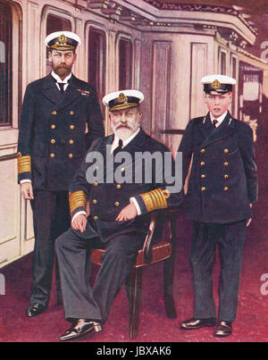 The Royal family Three generations of sailors.  King Edward VII, Prince George, later King George V, Prince Edward, - Stock Photo