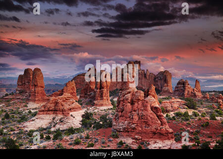 Colorful sunset in Arches National Park, Utah, USA - Stock Photo