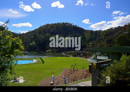Chairlift above the First Basin on the South Esk River within the Cataract Gorge in Launceston, Tasmania, Australia - Stock Photo