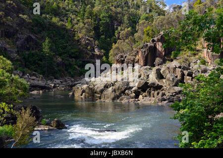 South Esk River as it exits the First Basin within the Cataract Gorge in Launceston, Tasmania, Australia - Stock Photo