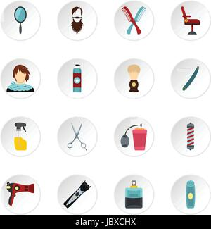 Hairdressing set flat icons - Stock Photo