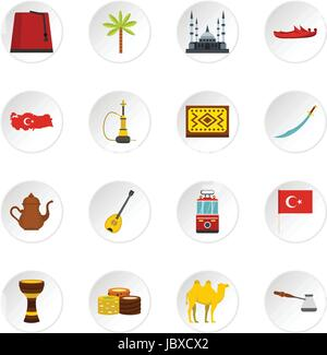 Turkey travel icons set in flat style - Stock Photo