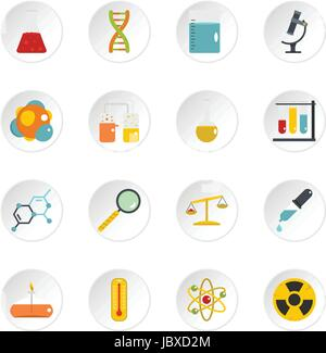 Chemical laboratory icons set in flat style - Stock Photo