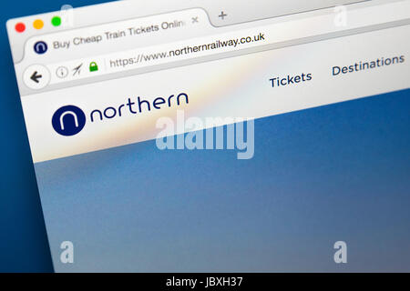 LONDON, UK - JUNE 8TH 2017: The homepage of the official website for Northern, on 8th June 2017.  Northern is the - Stock Photo