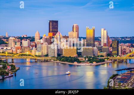 Pittsburgh, Pennsylvania, USA skyline at dusk. - Stock Photo